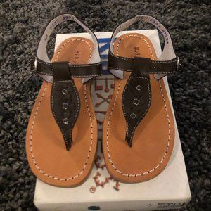 Girls Kid Express Brown Leather Flower Sandals